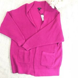 Express Oversized Pink Knit Cardigan with Pockets